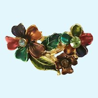 Pretty Colorful Gold-tone Floral Rhinestone Brooch Pin