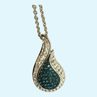 Stunning Dark Aqua Blue & Faux Diamond Silver-tone Necklace