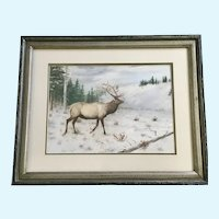 Elmer Schock, Bull Elk In Mountain Clearing Watercolor Painting