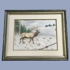 Elmer Schock, Bull Elk In Mountain Clearing Watercolor Painting