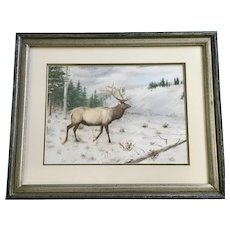 Elmer Schock, Bull Elk In Mountain Clearing Watercolor Painting Signed by Listed Artist
