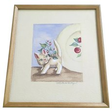 Mike Varley, Kitty Cat Planter Watercolor Painting Signed by Artist