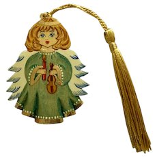 Hand Painted Wood Angel Green Russian Girl Christmas Ornament