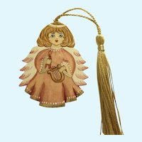 Hand Painted Wood Angel Peach Russian Girl Christmas Ornament