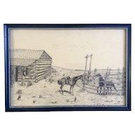 Donna Hill, Cowboys and Horses Resting at the Old Homestead, Original Pen and Ink Drawing, Works on Paper Signed by Artist 1957