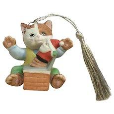 Bronson Collectibles Kitty Cat Christmas Ornament Playful Patrick Figurine Upgraded Tassel 1996 #9