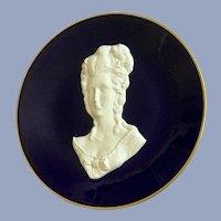 "Vintage Unterweissbach Victorian Princess Plate Portrait Bas-Relief Cameo Cobalt Blue 7.5"""