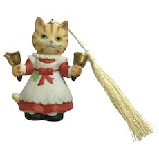 Bronson Collectibles Kitty Cat Christmas Ornament Bell Ringer Betsy Figurine Upgraded Tassel 1996
