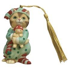 Bronson Collectibles Kitty Cat Christmas Ornament Sleepy Sarah Figurine Upgraded Tassel 1996 #4