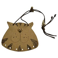 Silly Cat Face Plaque Stoneware Wall Hanging