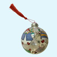 Large Hand Painted Christmas Ornament Clear Glass Snowman Limited Edition
