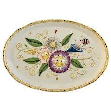 Anthropomorphic Happy Flowers Dept 56 Ceramic Oval Serving Dish