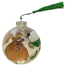 Large Hand Painted Christmas Ornament Clear Glass Santa Reindeer Limited Edition