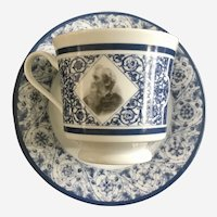 General Lee Vintage Transfer ware Photo Blue Cup & Saucer set