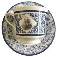 General Lee Vintage Transfer ware Photo Blue Cup & Saucer set
