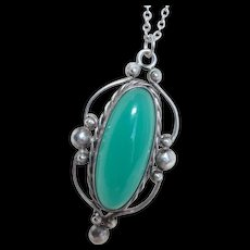 Arts and Crafts Green Chrysoprase Pendant Necklace