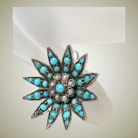 Antique Victorian Pave Turquoise and Pearl Pendant