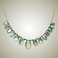 Deco 10kt and 14kt Gold Moonstone Fringe Necklace