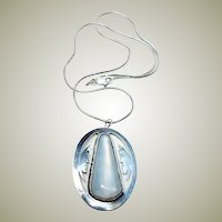 Vintage Deco Man in the Moon Moonstone Pendant