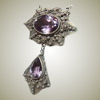 Antique Amethyst Sterling Silver Filigree Necklace
