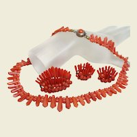Deco Coral Parure Necklace, Brooch, and Earrings
