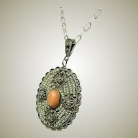 Beautiful Antique Seed Pearl Coral Pendant Necklace