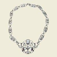 Vintage Sterling Silver Floral Necklace Collar