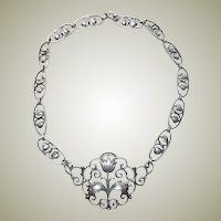 Vintage Sterling Silver Floral Necklace Collar