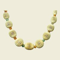 Cantonese Pierced Star Bone and Agate Necklace
