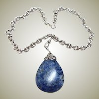 Arts and Crafts Huge Lapis Pendant Necklace