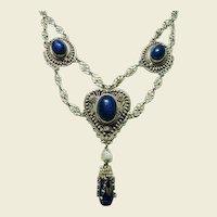 Antique Victorian Festoon Lapis Necklace