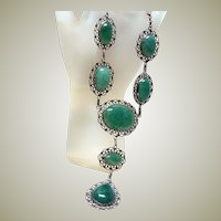 Vintage Adventurine Festoon Necklace
