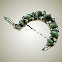Antique Chrysoberyl and Seed Pearl Brooch