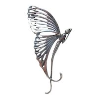 Nouveau Sterling Silver Butterfly Brooch