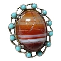 Vintage Striped Agate Scarab Ring
