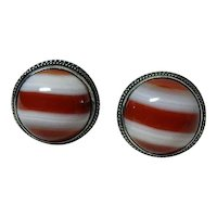 Beautiful Vintage Red Banded Agate Earrings