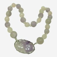 Vintage Circa 1920 Carved Lavender Jadeite Pendant and Bead Necklace