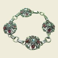 Vintage Moonstone and Amethyst Bracelet