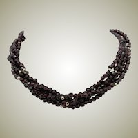 33 Inch Triple Strand Hand Cut Garnet Bead Necklace Gold Clasp