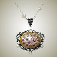 Vintage Enamel Nouveau Pearl Pendant Necklace