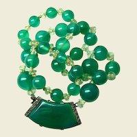 Fine Translucent Deco Chrysoprase Necklace