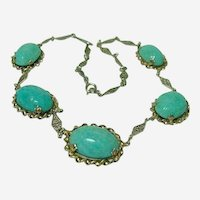 Vintage Chinese Adventurine Scarab Necklace