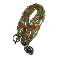 Vintage Carved Labradorite and Carnelian Bead Necklace