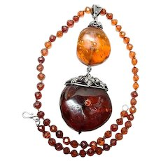 Antique Amber Arts and Crafts Pendant Drop Necklace