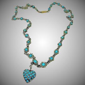 Antique Victorian Turquoise Pave Necklace