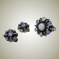 Zoltan White Arts and Crafts Opal Ring and Earrings