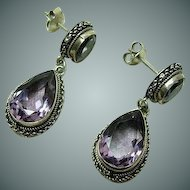 Vintage Amethyst Teardrop Earrings