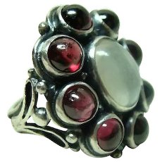 Arts and Crafts Garnet and Moonstone Ring