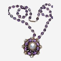 Gorgeous Vintage Amethyst and Moonstone 12kt Gold Necklace