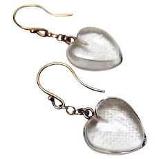 Petite Genuine Rock Crystal Heart Earrings